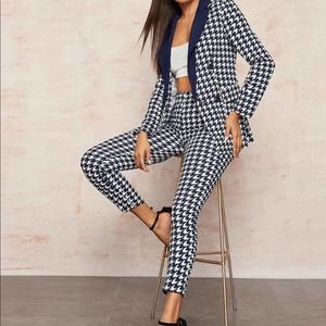 {SHEIN}double breasted houndstooth blazer pants XS